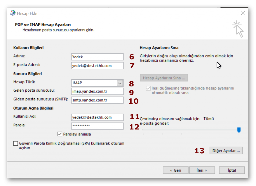 Outlook'ta imap yandex kurumsal e-posta kurulumu